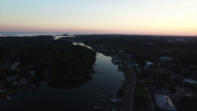bird's eye view of conneciticut coastal town - eastern usa stock videos & royalty-free footage
