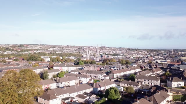 Bird's eye view of Cork, Ireland on a sunny afternoon day.