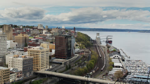 birds eye view of freight trains in downtown tacoma - pierce county washington state stock videos & royalty-free footage