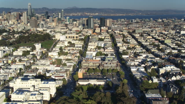 birds eye view of golden gate park with upward pan - haight ashbury stock videos & royalty-free footage