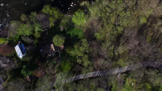 bird's eye view of houses hidden in trees along a rocky river in upstate new york - contea di ulster stato di new york video stock e b–roll