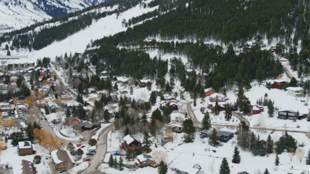birds eye view of jackson - jackson hole stock-videos und b-roll-filmmaterial