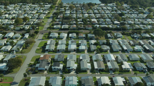 birds eye view of large manufactured home community - florida us state stock videos & royalty-free footage