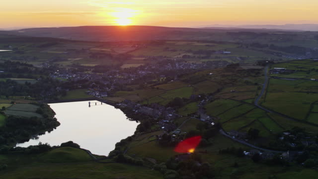 birds eye view of leeming reservoir, oxenhope - reservoir stock videos and b-roll footage