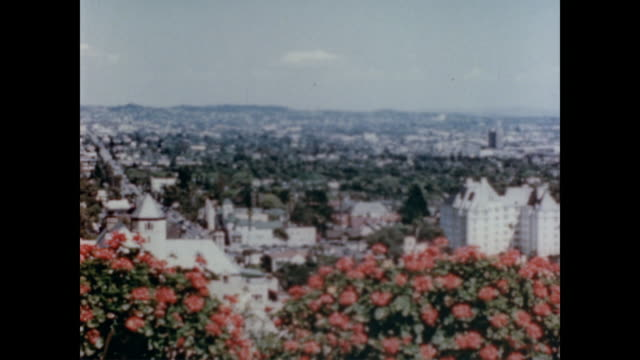 1947 bird's eye view of los angeles - 1940~1949年点の映像素材/bロール