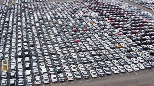 birds eye view of new cars on dock - parking lot stock videos & royalty-free footage