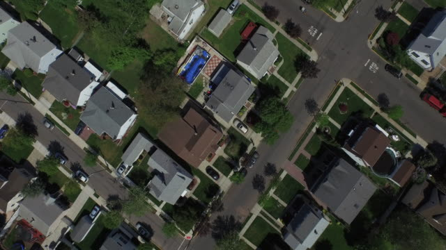 Bird's eye view of New Jersey suburb with streets cutting diagonally across frame