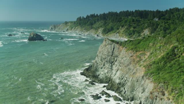 stockvideo's en b-roll-footage met birds eye uitzicht op de pacifische kust en redwood forest - sequoiafamilie