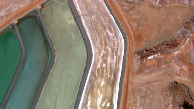 Bird's eye view of potash evaporation ponds at a potash mine near Moab, Utah.