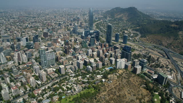 vídeos y material grabado en eventos de stock de birds eye view of santiago skyscraper - camino santiago