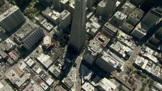 Birds eye view of skyscrapers in downtown San Francisco.
