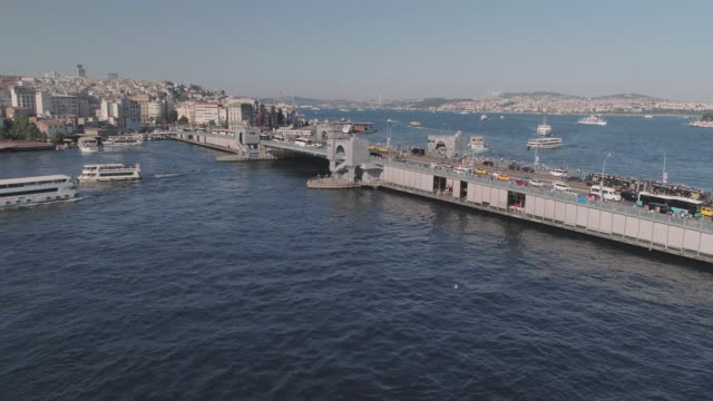 birds eye view of the galata bridge. istanbul. turkey. - bath stock videos & royalty-free footage