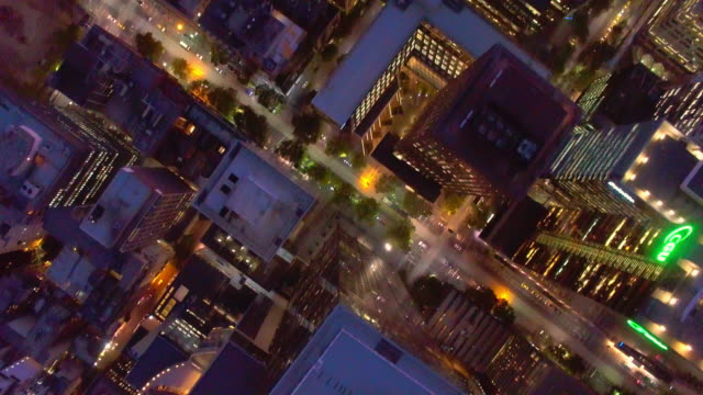 A birds eye view of the Melbourne Central Business District during twilight.