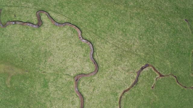 イギリス海峡に向かって蛇行河川の組み合わせることの鳥瞰図します。 - サウスダウンズ点の映像素材/bロール
