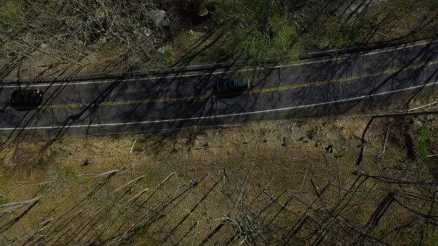 vidéos et rushes de bird's eye view of traffic on one lane road surrounded by trees in upstate new york - comté d'ulster