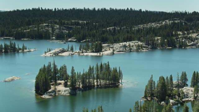 birds eye view of utica and union reservoirs, stanislaus national forest - californian sierra nevada stock videos and b-roll footage
