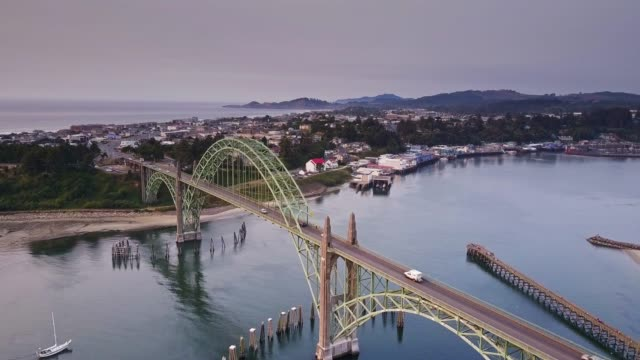 birds eye view of yaquina bay bridge and newport, oregon - 1936 stock videos & royalty-free footage