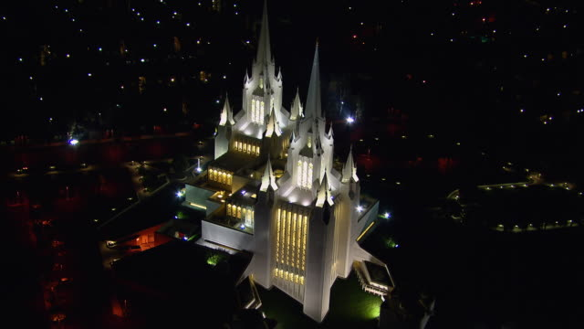 birds eye view over the san diego california temple, a mormon church, in san diego, california. - mormon temple stock videos and b-roll footage