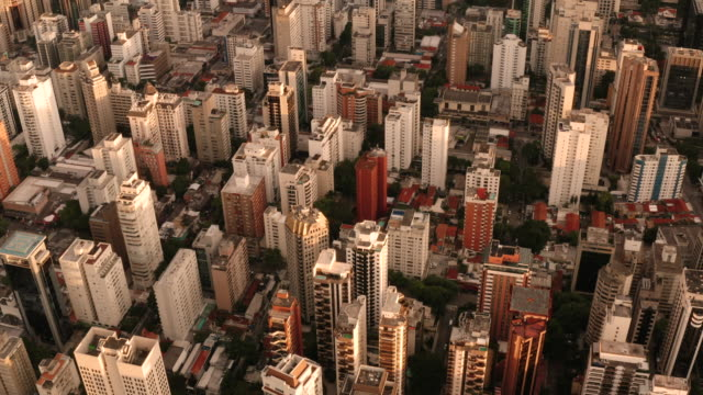 a birds eye view tracking above the buildings of  sao paulo. brazil. - são paulo state stock videos & royalty-free footage
