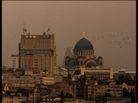 Birds fly by Saint Sava church dome adorned with gold crosses on city hillside Belgrade