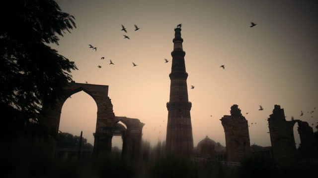 birds fly over silhouetted qutub minar, india - atmosphere filter stock videos & royalty-free footage