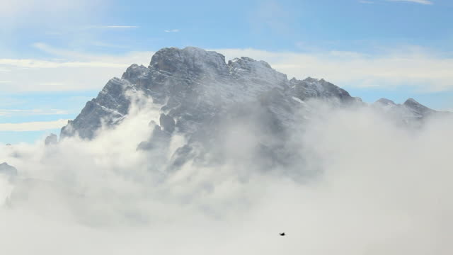 ws birds flying around mountain peak surrounded by clouds / italy - medium group of animals stock videos & royalty-free footage