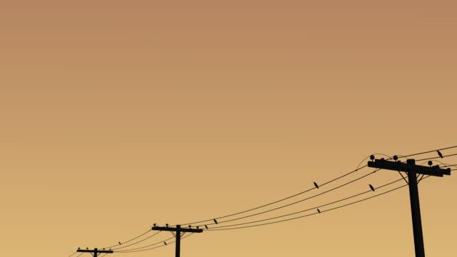 鳥飛ぶからワイヤ - ケーブル線点の映像素材/bロール