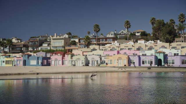 Birds flying on bay beach near multicolor houses / Capitola, California, United States