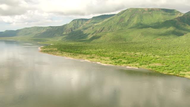 WS AERIAL Birds flying over lake with lush mountains in the background / Kenya
