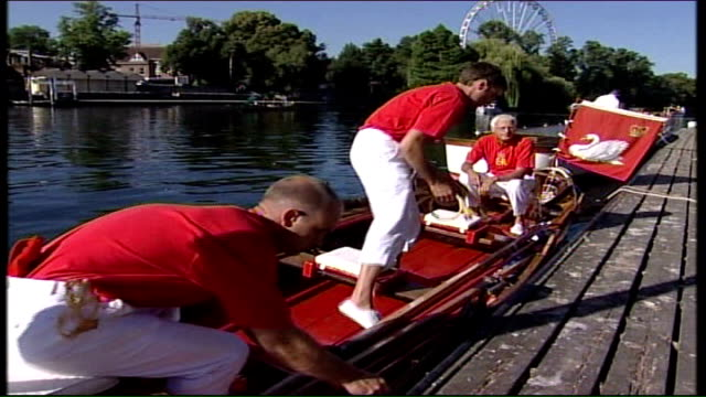 river thames swan upping begins: crews along river; unknown interview heard over following shots swan handed from one boat to another / boat... - cygnet stock videos & royalty-free footage
