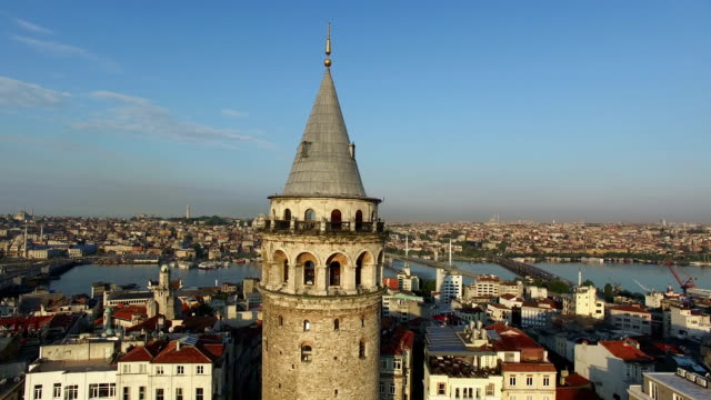 stockvideo's en b-roll-footage met bird's-eye footage of galata tower in istabul, turkey - turkije midden oosten