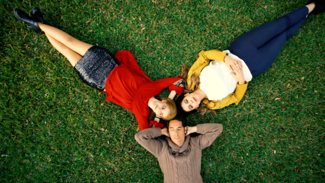 bird´s-eye shot of group of three friends resting over the garden grass - top garment stock videos & royalty-free footage