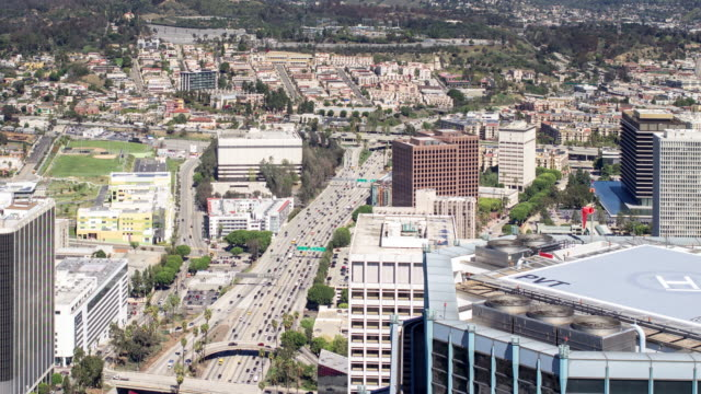 Birdseye View Los Angeles Freeway - Time Lapse