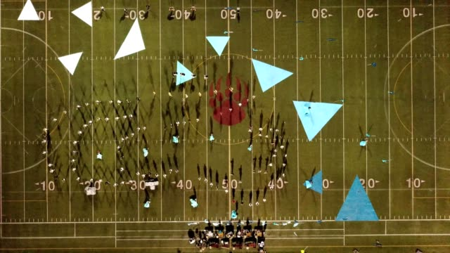 birdseye view of a high school marching band performance in  san marcos california - marching band stock videos & royalty-free footage