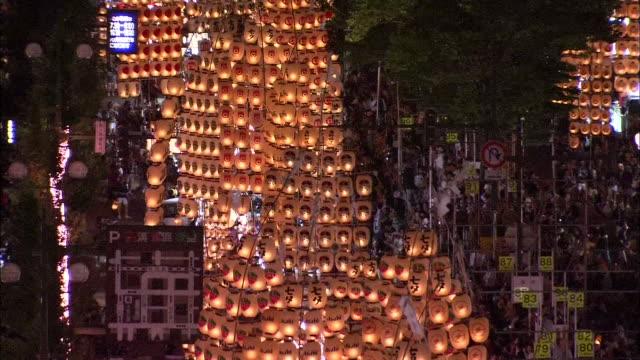 bird's-eye view of pole lantern festival in akita city - 秋田県点の映像素材/bロール
