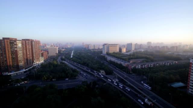 Beijing, Сhina - October 14, 2016: Birdview of the sunrise over beijing city in Haidian district.