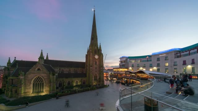 birmingham bullring commercial area and st martin's cathedral time-lapse - birmingham england stock videos & royalty-free footage