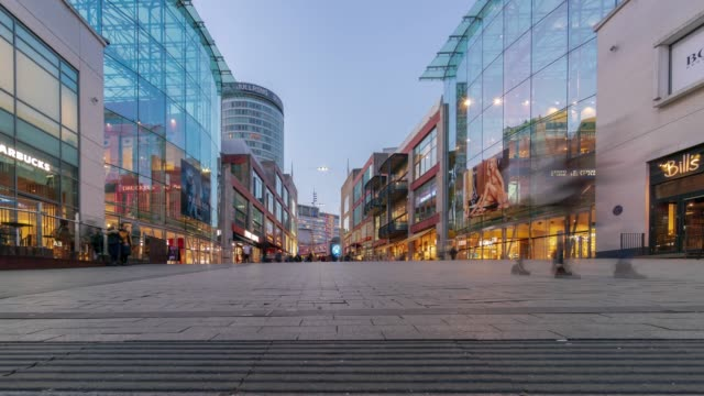 birmingham bullring commercial area time-lapse at dusk - birmingham england stock videos & royalty-free footage