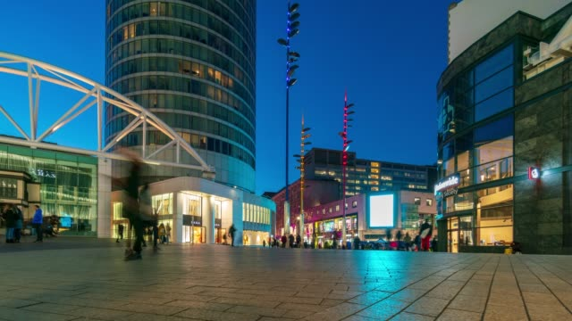 birmingham bullring shopping area at dusk time-lapse - birmingham england stock videos & royalty-free footage