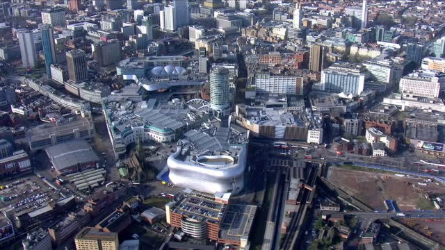 birmingham city centre aerials - birmingham england stock videos & royalty-free footage