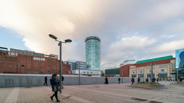 birmingham city centre, uk - 4k time-lapse - tall high stock videos & royalty-free footage