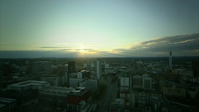 birmingham gang members given biggest ever gang injunction r22071007 / high angle view of birmingham city centre as sun sets view of blocks of flats - gang stock videos and b-roll footage