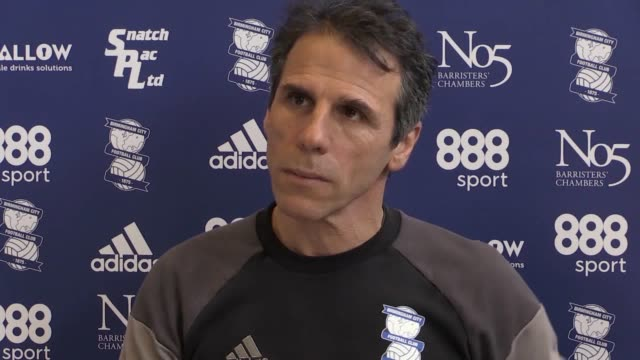 birmingham manager gianfranco zola holds a press conference ahead of his side's skybet championship match at home to leeds on march 3. - leeds stock videos & royalty-free footage