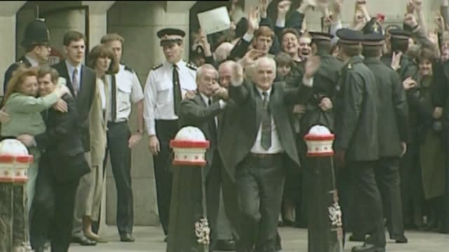 inquests reopened march 1991 london old bailey 'birmingham six' celebrating outside court as their conviction is quashed - birmingham england stock videos & royalty-free footage