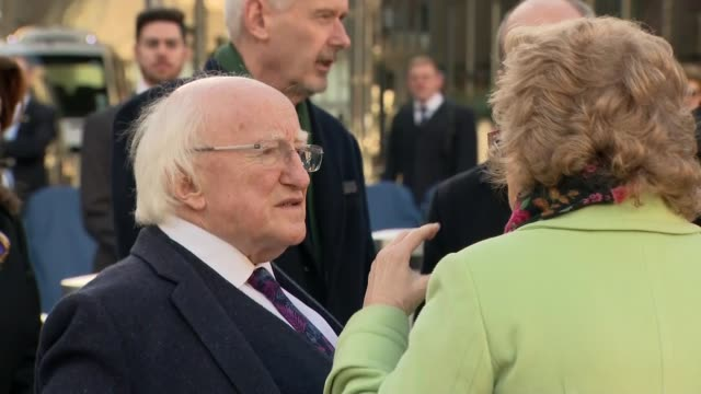 michael d higgins visits birmingham new street memorial england west midlands birmingham new street station ext new street station memorial gvs /... - michael d. higgins stock videos and b-roll footage
