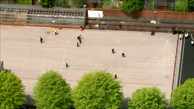 Five schools placed in special measures AIR VIEW AERIAL Pupils in playground of Birmingham school