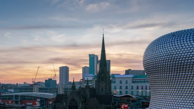 birmingham skyline and st martin's cathedral at dusk time-lapse - birmingham england stock videos & royalty-free footage