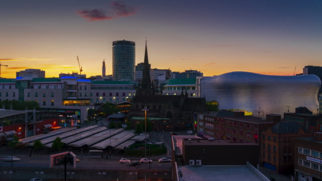 birmingham skyline at dusk, uk - 4k time lapse - birmingham england stock videos & royalty-free footage