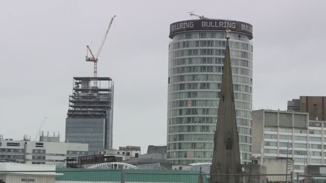 birmingham skyline; england: west midlands: birmingham: ext wide shots of birmingham city centre skyline, shot near birmingham new street station,... - steeple stock videos & royalty-free footage