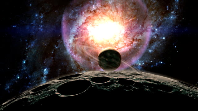 birth of a quasar - spazio cosmico video stock e b–roll